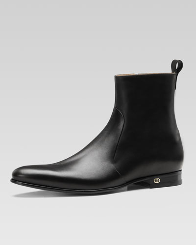 Gucci Faramir Leather Boot, Black