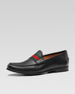 Gucci Frederik Leather Web Loafer, Black