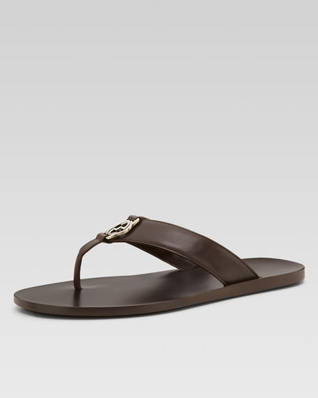 GG Line Leather Thong Sandal, Brown