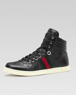 Gucci Coda Guccissima Leather High-Top Sneaker, Black