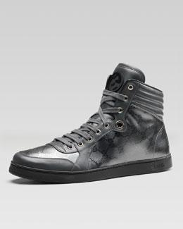 Gucci Coda GG Imprime High-Top Sneaker, Platinum Gray