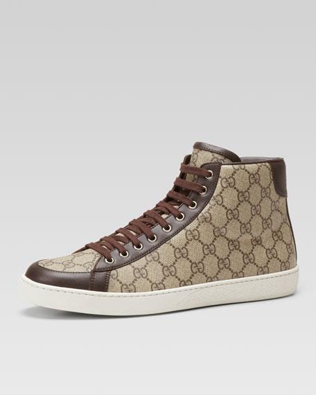 gucci brooklyn gg supreme fabric high top sneaker beige. Black Bedroom Furniture Sets. Home Design Ideas