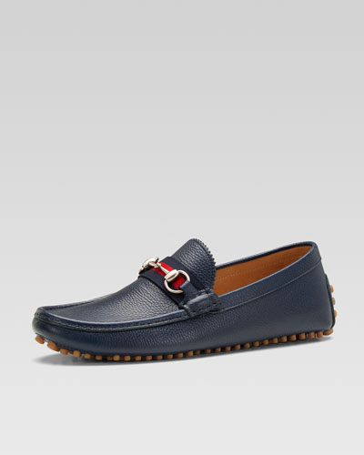 Gucci Damo Leather Horsebit Driver, Navy