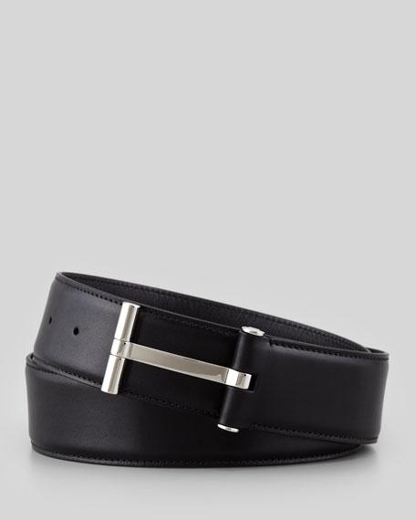 Men's Leather T-Buckle Belt, Black