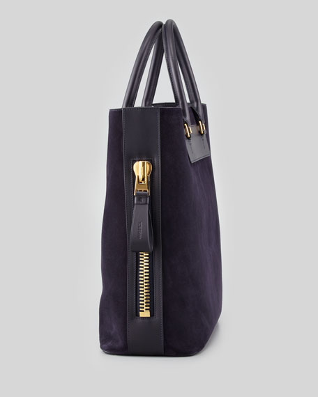 Men's Suede Side-Zip Tote Bag, Aubergine