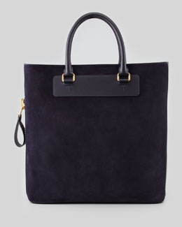 Tom Ford Men's Suede Side-Zip Tote Bag, Aubergine