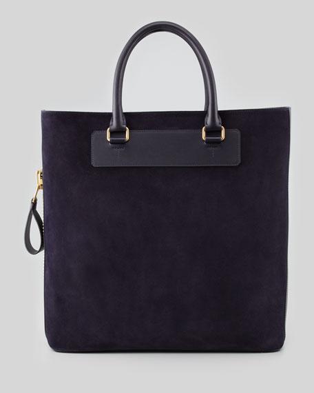 Men's Suede Side-Zip Tote Bag, Aubergine