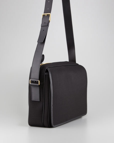 Canvas Messenger Bag, Black