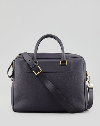 Tom Ford Leather Zip Briefcase, Blue