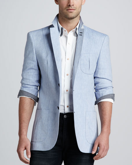 Lino Two-Button Blazer, Light Blue