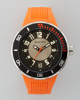 Philip Stein 46mm Sport Watch with Rubber Strap, Orange