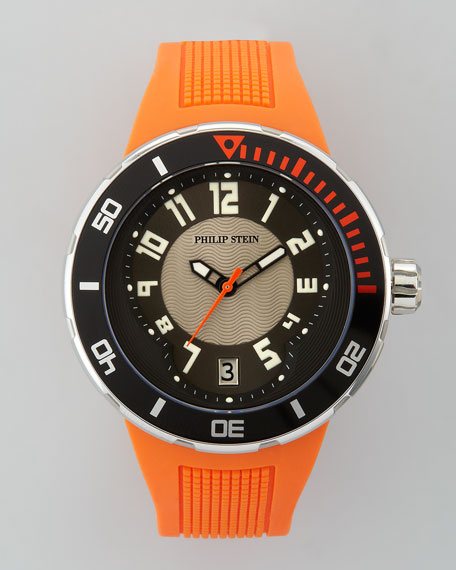 46mm Sport Watch with Rubber Strap, Orange