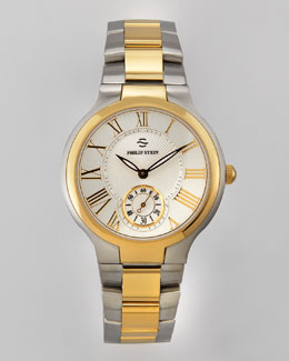 Philip Stein 40mm Round Two-Tone Bracelet Watch