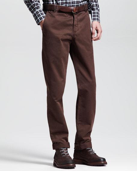 Twill Six-Pocket Pants, Brown
