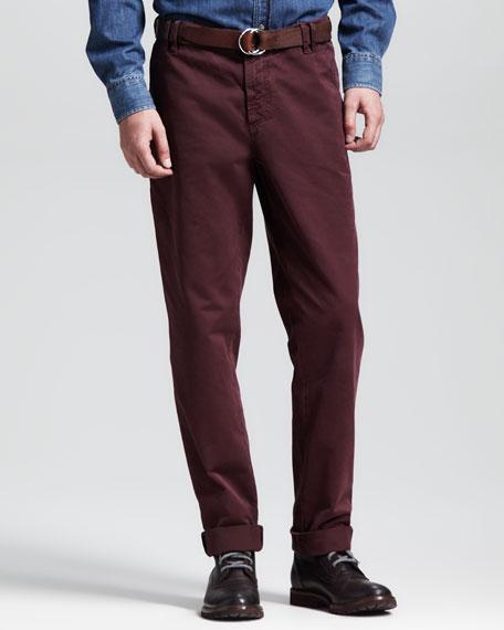 Twill Six-Pocket Pants, Red