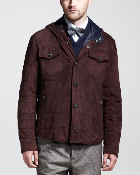 Quilted Suede Hooded Jacket, Wine
