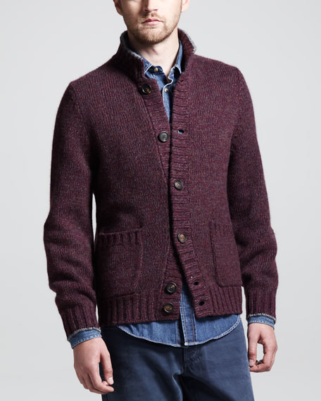 Chine Buttoned Cashmere Cardigan