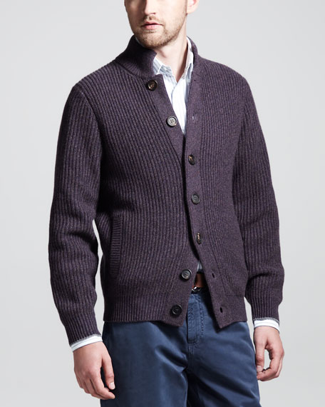 Buttoned Ribbed-Cashmere Cardigan