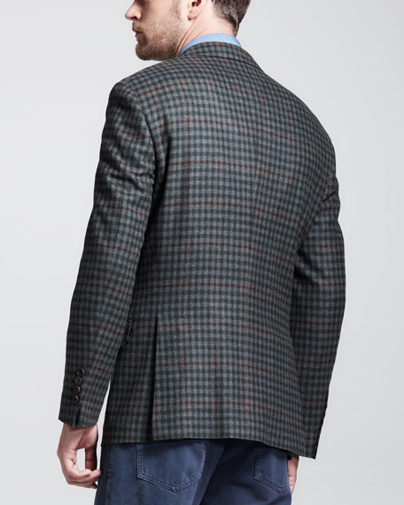 Cavallo Windowpane-Check Sport Coat, Green