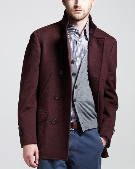 Double-Breasted Wool-Cashmere Peacoat