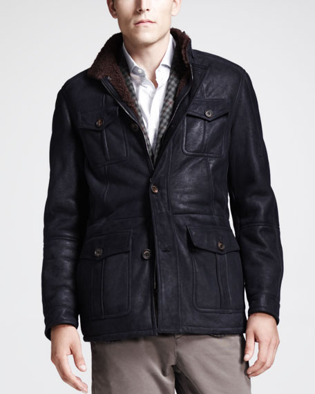 Spanish Shearling Leather Parka, Navy