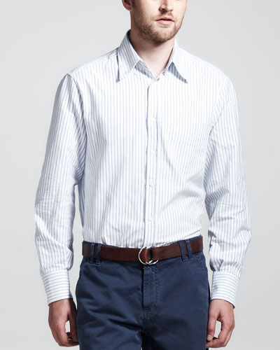 Brunello Cucinelli Striped Oxford Button-Down Shirt