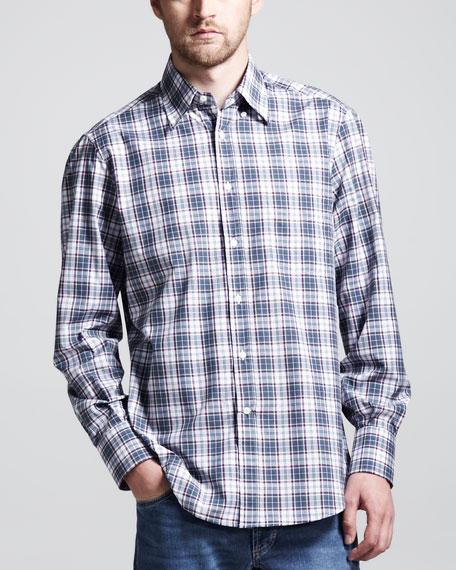 Madras Long-Sleeve Basic Shirt, Green/Wine