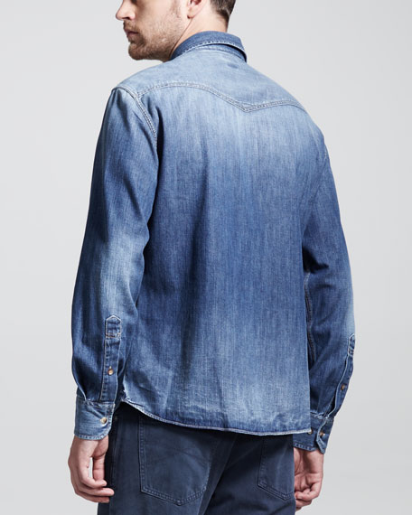 Western Denim Shirt, Blue