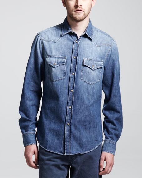 Western Denim Shirt, Blue