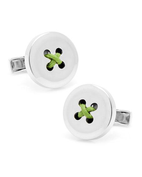 Round Button Cuff Links, Green