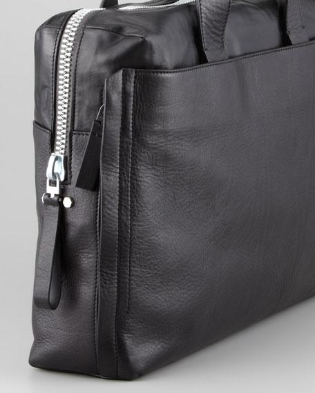 Top-Zip Calfskin Briefcase, Black