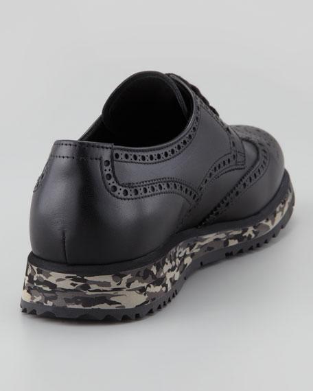 Camo-Sole Wingtip Sneaker, Black/Camo