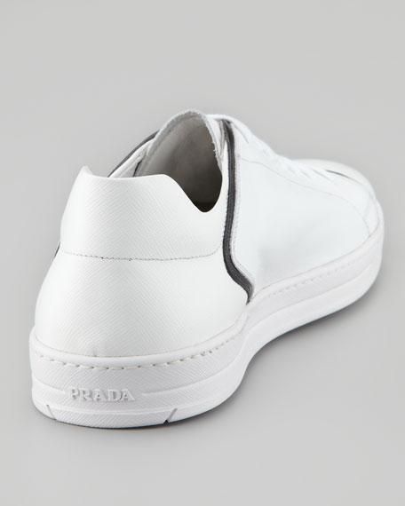 Saffiano Colorblock Sneaker, White/Black