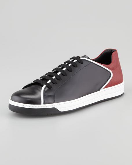 Mixed Leather Colorblock Sneaker, Black/Red