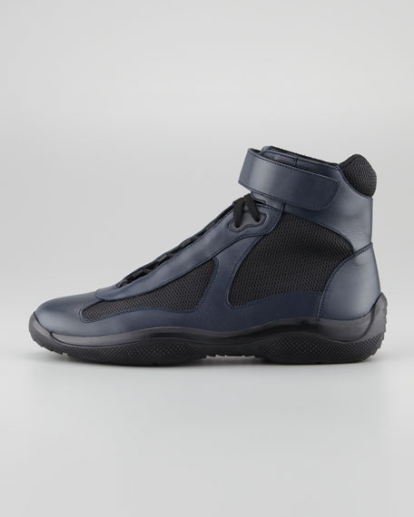 Nevada Leather Hi-Top Sneaker, Blue