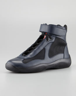Prada Nevada Leather Hi-Top Sneaker, Blue