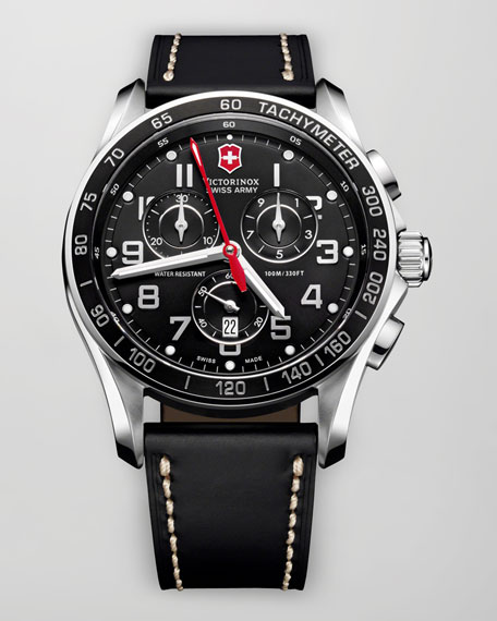 Victorinox Swiss Army Classic Chronograph Leather Watch, Black