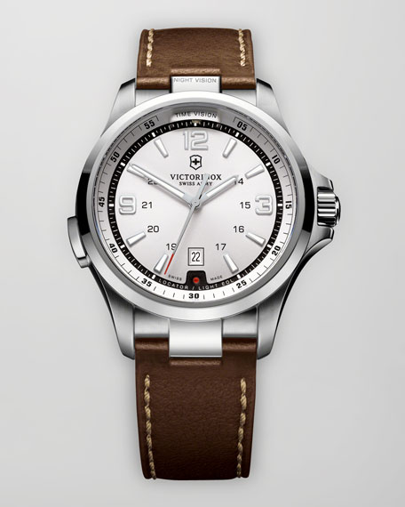 Night Vision Leather Watch, Silver