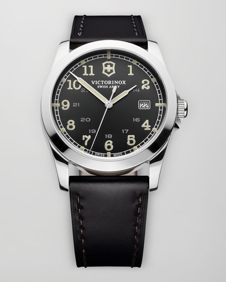 Victorinox Swiss Army Infantry Leather Watch, Black
