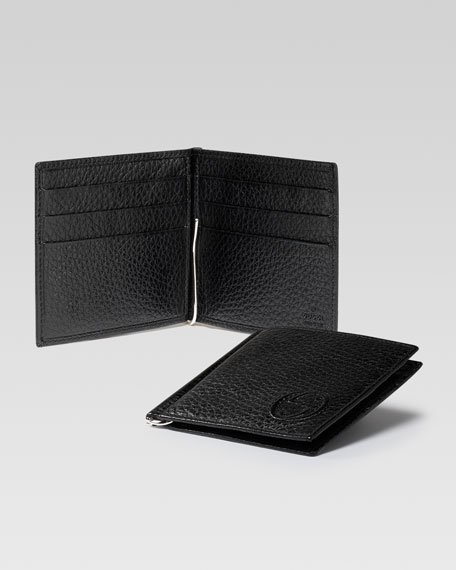 Soho Leather Money-Clip Wallet, Black