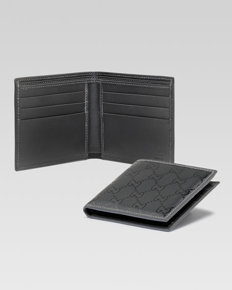 GG Imprime Leather Bi-Fold Wallet, Platinum