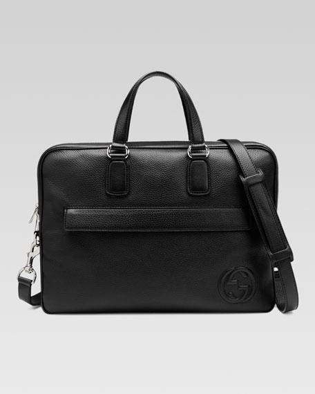 Soho Leather Briefcase, Black