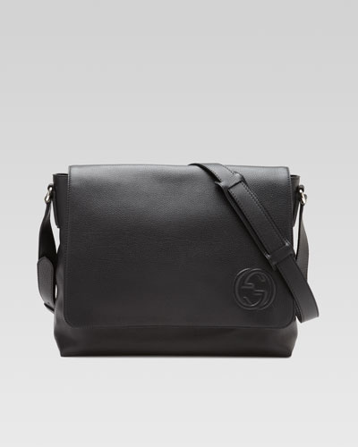 Soho Men's Leather Messenger Bag, Black