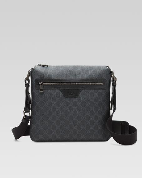 51f1c33f257e Gucci GG Supreme Small Canvas Messenger Bag, Black   Neiman Marcus
