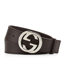 Gucci Leather Interlocking G Belt, Brown