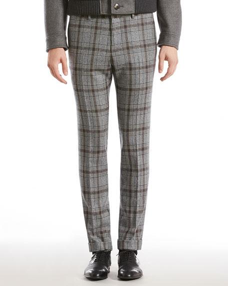 Check Wool Skinny Pants, Gray Multi