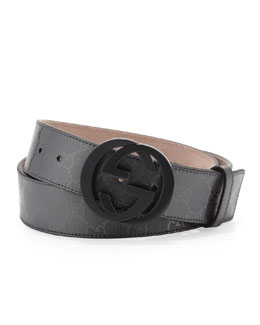Gucci GG Supreme Canvas Belt with Interlocking G Buckle, Platinum