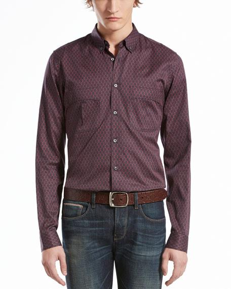 Stirrup-Print Military Shirt, Red