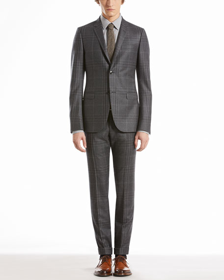 Check Flannel Dylan Suit, Gray