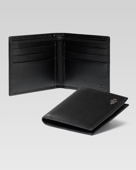 Crest Detail Bi-Fold Wallet, Black